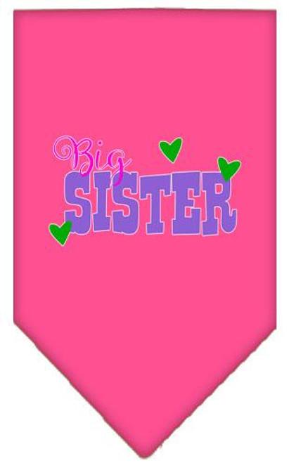 Big Sister Screen Print Bandana Bright Pink Large