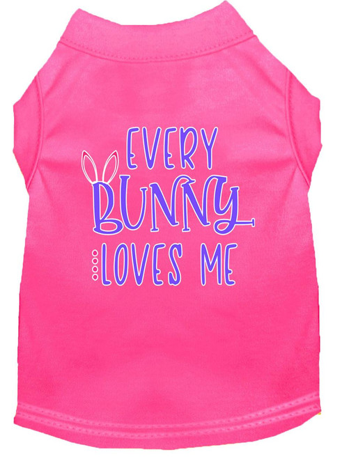 Every Bunny Loves Me Screen Print Dog Shirt Bright Pink Xs (8)