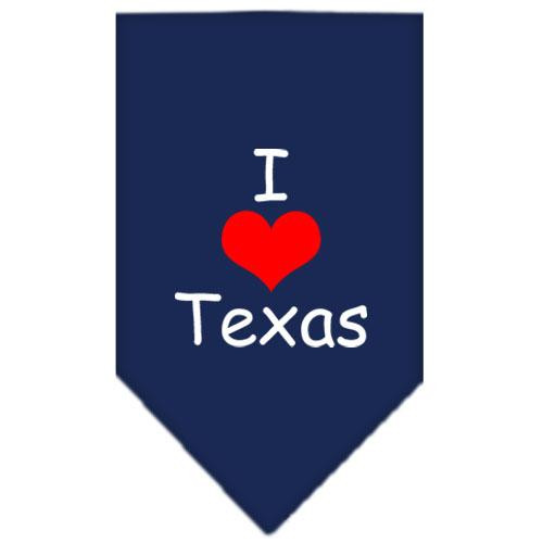 I Heart Texas  Screen Print Bandana Navy Blue Large