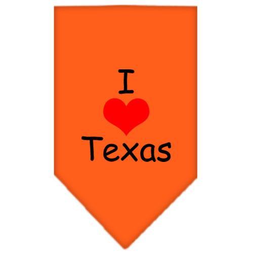 I Heart Texas  Screen Print Bandana Orange Large