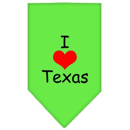 I Heart Texas  Screen Print Bandana Lime Green Large