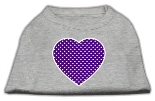 Purple Swiss Dot Heart Screen Print Shirt Grey Med (12)