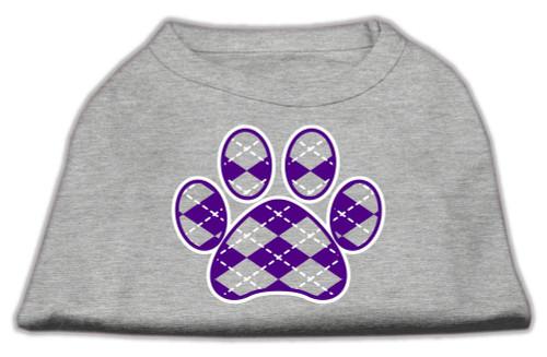 Argyle Paw Purple Screen Print Shirt Grey Sm (10)