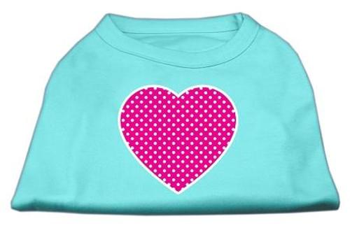 Pink Swiss Dot Heart Screen Print Shirt Aqua Sm (10)