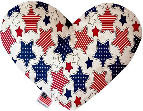 Patriotic Stars 6 Inch Heart Dog Toy