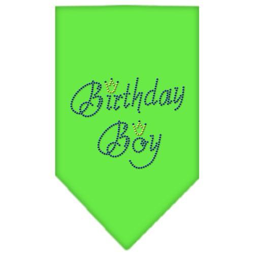 Birthday Boy Rhinestone Bandana Lime Green Large