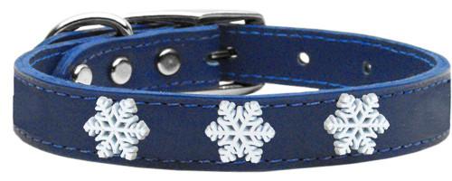 Snowflake Widget Genuine Leather Dog Collar Blue 12