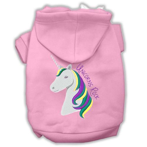 Unicorns Rock Embroidered Dog Hoodie Light Pink Xxl (18)