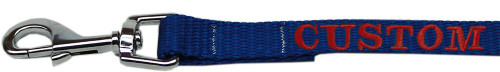 Custom Embroidered Made In The Usa Nylon Pet Leash 5/8in By 4ft Blue