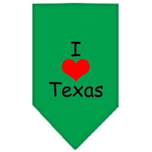 I Heart Texas  Screen Print Bandana Emerald Green Large