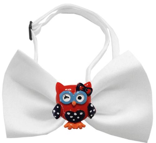 Patriotic Owls Chipper White Bow Tie