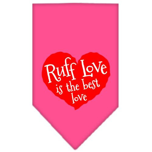 Ruff Love Screen Print Bandana Bright Pink Small