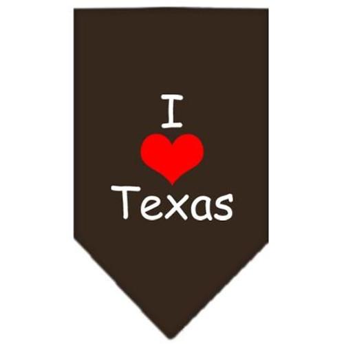 I Heart Texas  Screen Print Bandana Cocoa Large