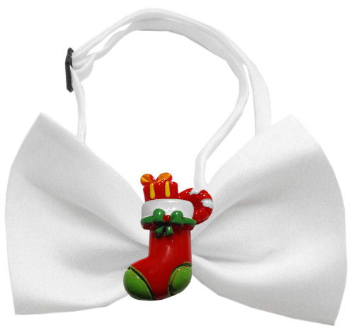 Stocking Chipper White Pet Bow Tie