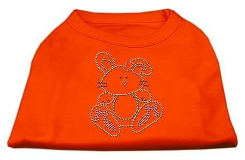 Bunny Rhinestone Dog Shirt Orange Sm (10)