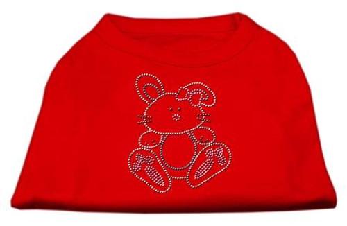Bunny Rhinestone Dog Shirt Red Sm (10)