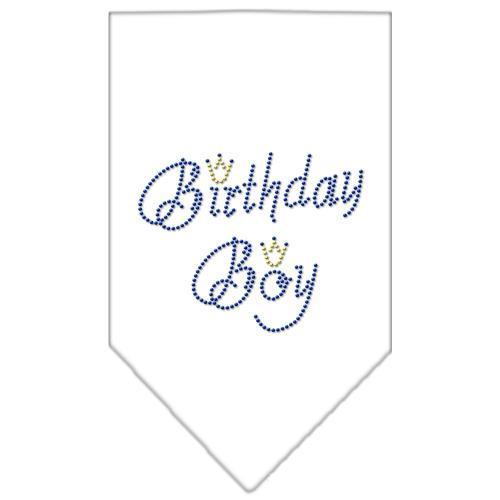 Birthday Boy Rhinestone Bandana White Large