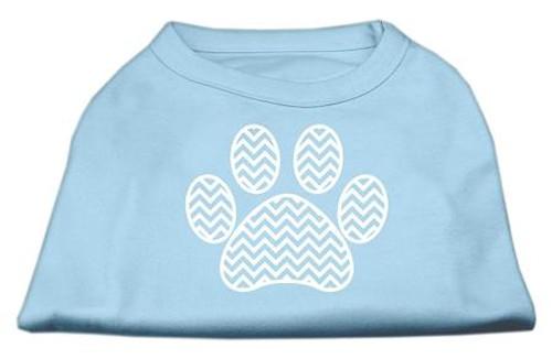 Chevron Paw Screen Print Shirt Baby Blue Med (12)
