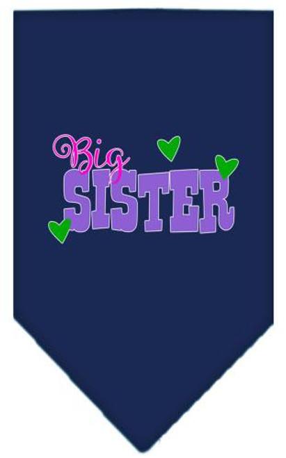 Big Sister Screen Print Bandana Navy Blue Small