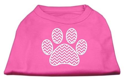 Chevron Paw Screen Print Shirt Bright Pink Med (12)
