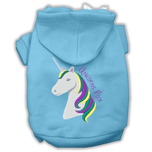 Unicorns Rock Embroidered Dog Hoodie Baby Blue Xxxl(20)