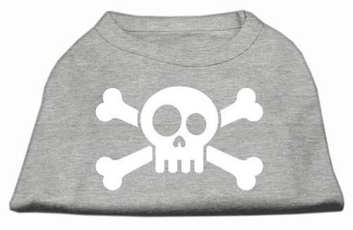 Skull Crossbone Screen Print Shirt Grey Lg (14)