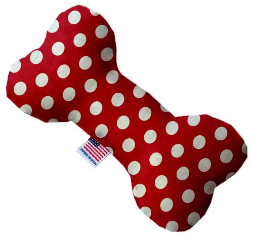 Red Swiss Dots 8 Inch Bone Dog Toy