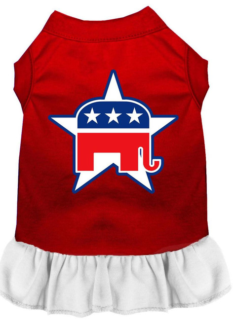 Republican Screen Print Dress Red With White Med (12)