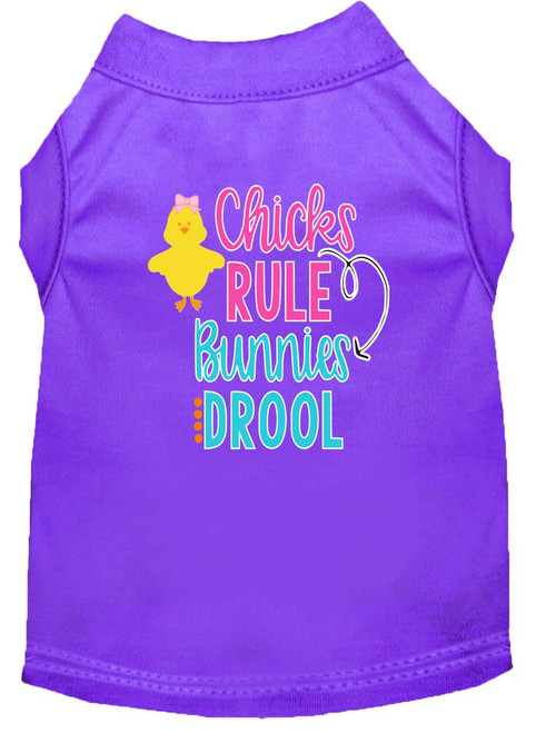 Chicks Rule Screen Print Dog Shirt Purple Sm (10)
