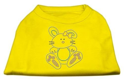 Bunny Rhinestone Dog Shirt Yellow Sm (10)