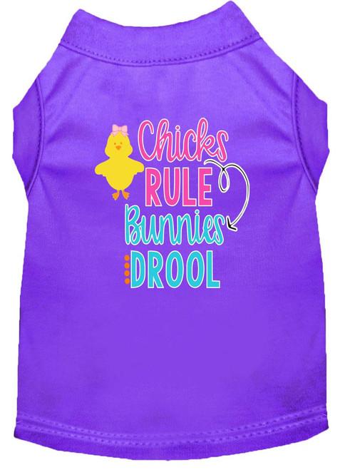 Chicks Rule Screen Print Dog Shirt Purple Med (12)