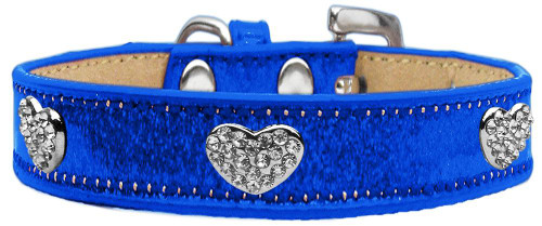 Crystal Heart Dog Collar Blue Ice Cream Size 14