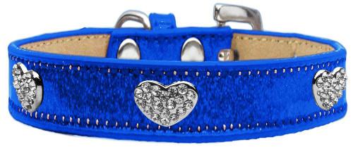 Crystal Heart Dog Collar Blue Ice Cream Size 14