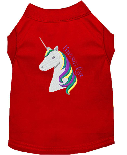 Unicorns Rock Embroidered Dog Shirt Red Med (12)