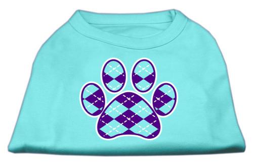 Argyle Paw Purple Screen Print Shirt Aqua Sm (10)