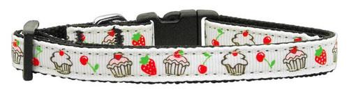 Cupcakes Nylon Ribbon Collar White X-small