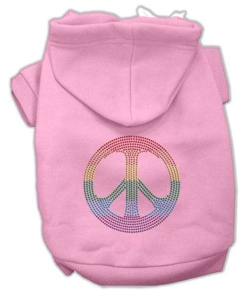 Rhinestone Rainbow Peace Sign Hoodies Pink Xl (16)