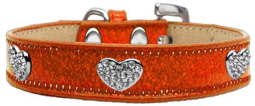 Crystal Heart Dog Collar Orange Ice Cream Size 16