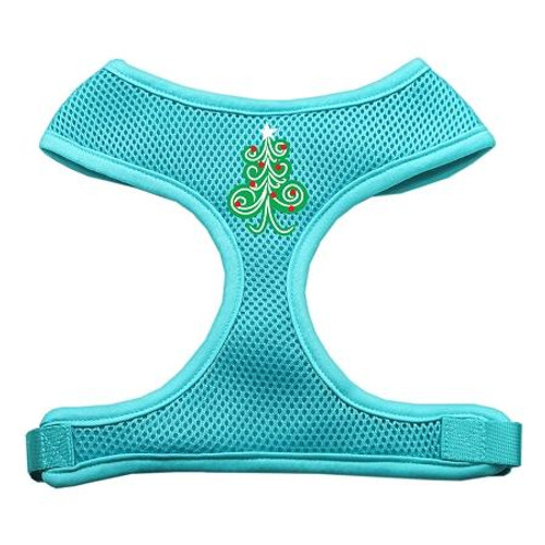 Swirly Christmas Tree Screen Print Soft Mesh Harness Aqua Large
