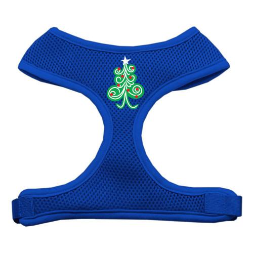 Swirly Christmas Tree Screen Print Soft Mesh Harness Blue Large