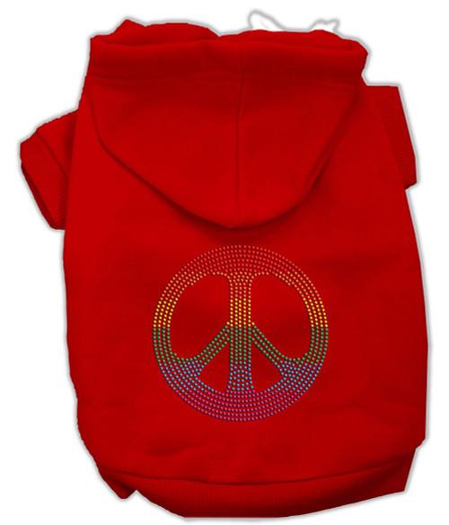 Rhinestone Rainbow Peace Sign Hoodies Red Xl (16)