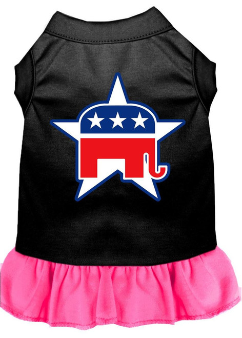 Republican Screen Print Dress Black With Bright Pink Lg (14)