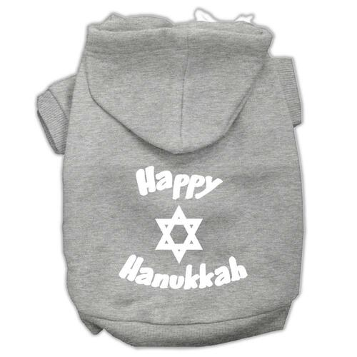 Happy Hanukkah Screen Print Pet Hoodies Grey Size Xxl (18)