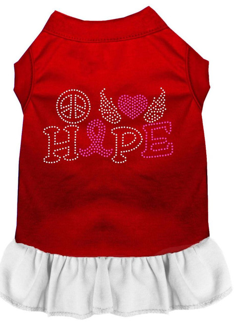 Peace Love Hope Breast Cancer Rhinestone Pet Dress Red With White Sm (10)
