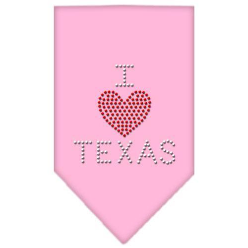 I Heart Texas Rhinestone Bandana Light Pink Small