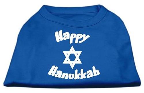 Happy Hanukkah Screen Print Shirt Blue Sm (10)