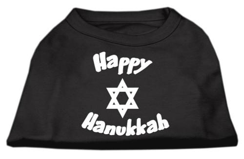 Happy Hanukkah Screen Print Shirt Black  Sm (10) - 51-25-05 SMBK