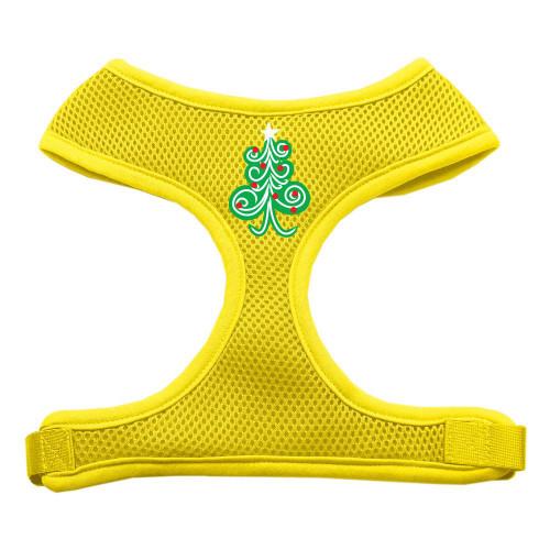 Swirly Christmas Tree Screen Print Soft Mesh Harness Yellow Large