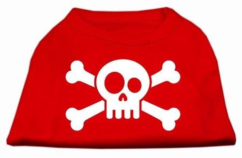 Skull Crossbone Screen Print Shirt Red Lg (14)
