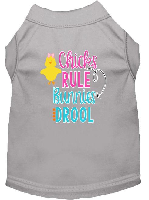 Chicks Rule Screen Print Dog Shirt Grey Med (12)